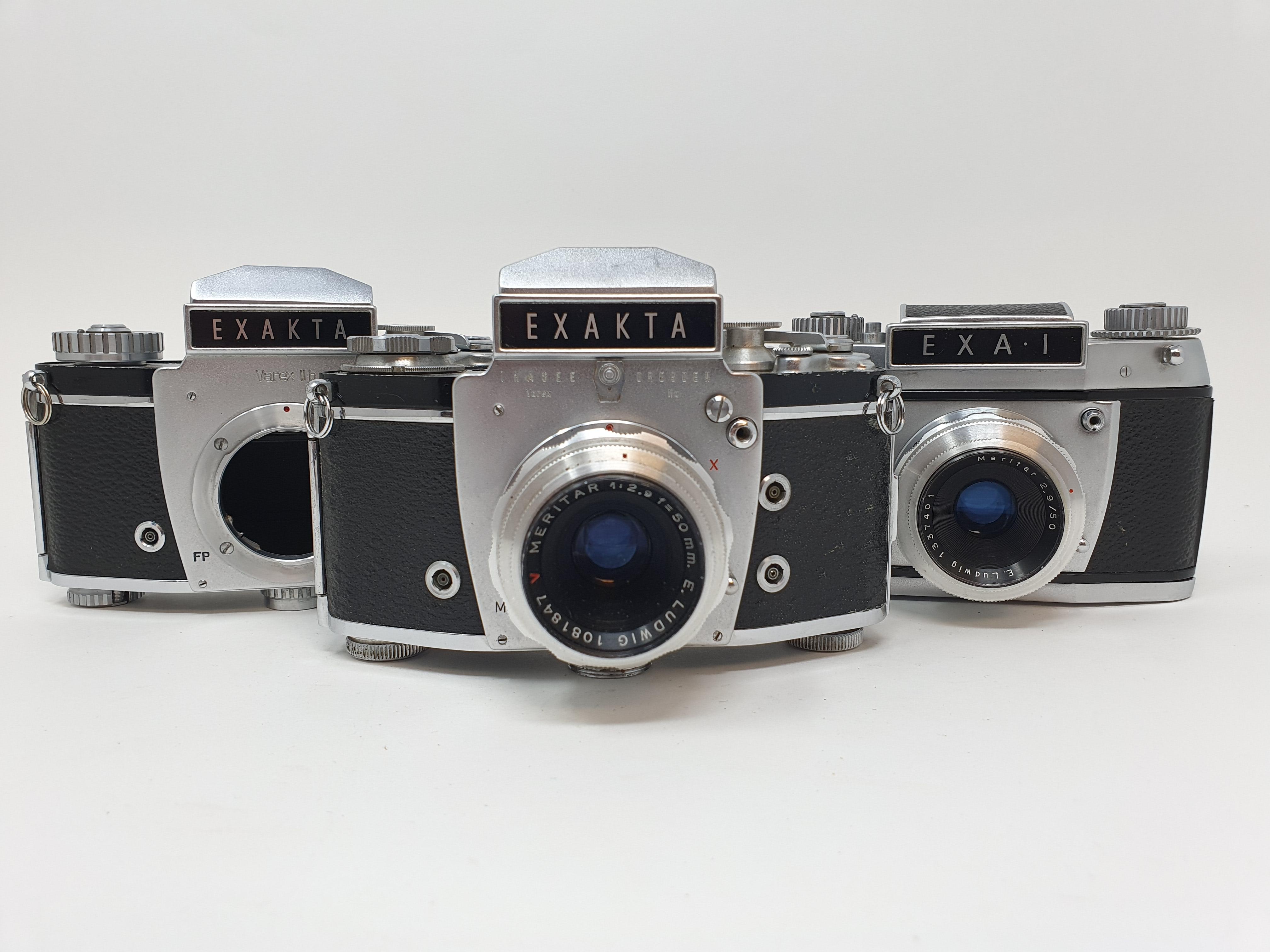 An Exakta Varex IIa camera, Varex IIb camera body, and an Exa. I (3) Provenance: Part of a vast