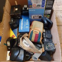 A Sony DC-P 51 digital camera, boxed, and various assorted photography items (box) Provenance: