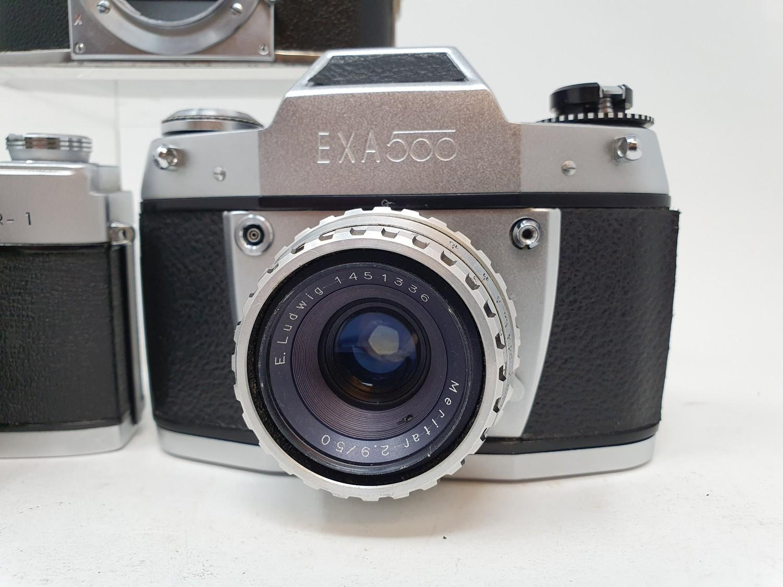 An Exa Thagee camera, lacking lens, an Exa 500 camera, and a Minolta SR - 1 (3) Provenance: Part - Image 2 of 5