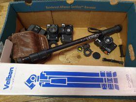 An Agfa Optima camera, a Optima 535 camera, a Lomo camera, and various assorted photography items (