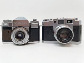 An Aires 35-III camera, serial number 605810, with leather outer case, and a Zeiss Ikon Contaflex