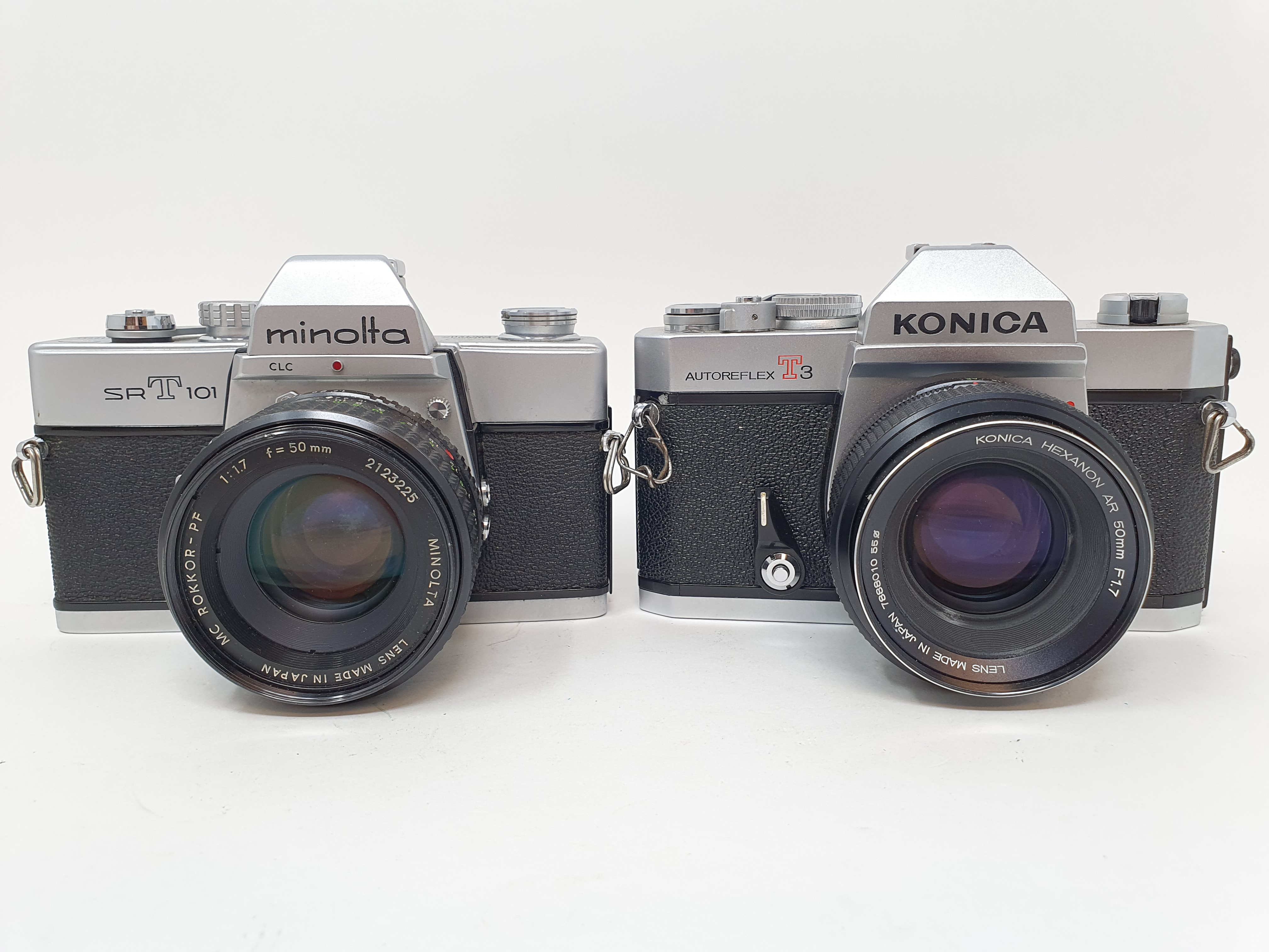 A Konica Autoflex T3 camera and a Minolta SRT 101 camera (2) Provenance: Part of a vast single owner