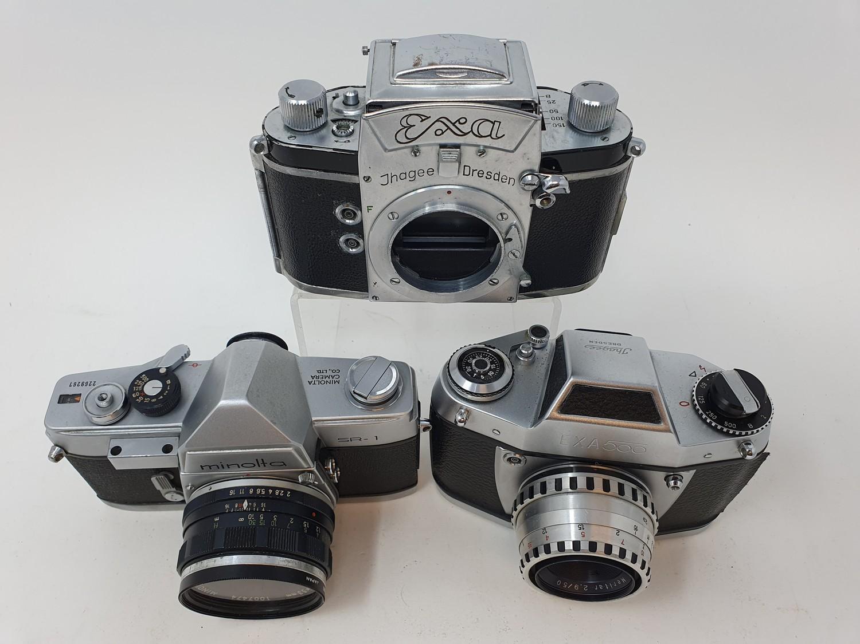 An Exa Thagee camera, lacking lens, an Exa 500 camera, and a Minolta SR - 1 (3) Provenance: Part - Image 4 of 5