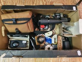 An Olympus XA 2 camera, boxed, and various assorted photography items (box) Provenance: Part of a