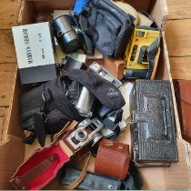 A Panoram-Kodak model D box camera, and various assorted photography items (box) Provenance: Part of
