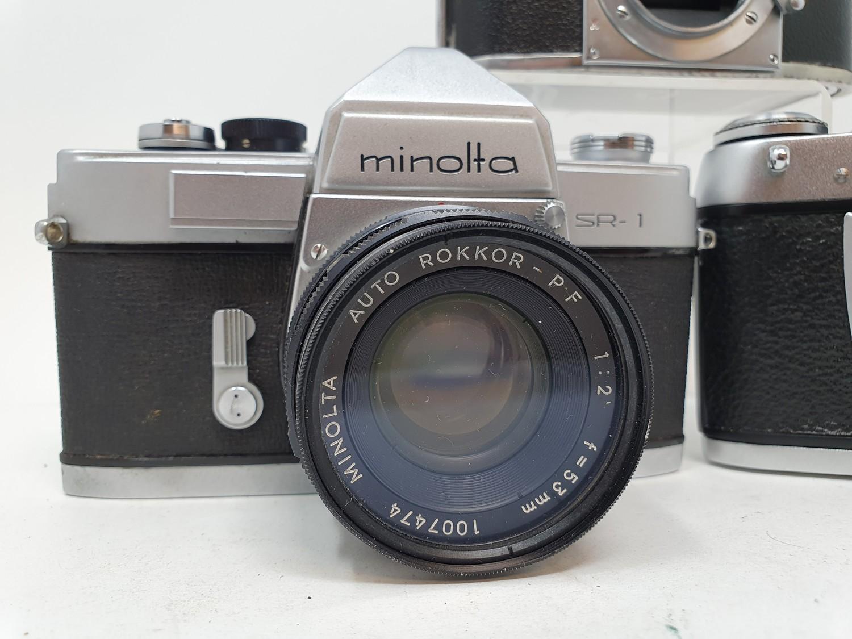 An Exa Thagee camera, lacking lens, an Exa 500 camera, and a Minolta SR - 1 (3) Provenance: Part - Image 3 of 5