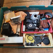 A Cobra Pro-Grip and bracket, boxed, and various assorted photography items (box) Provenance: Part