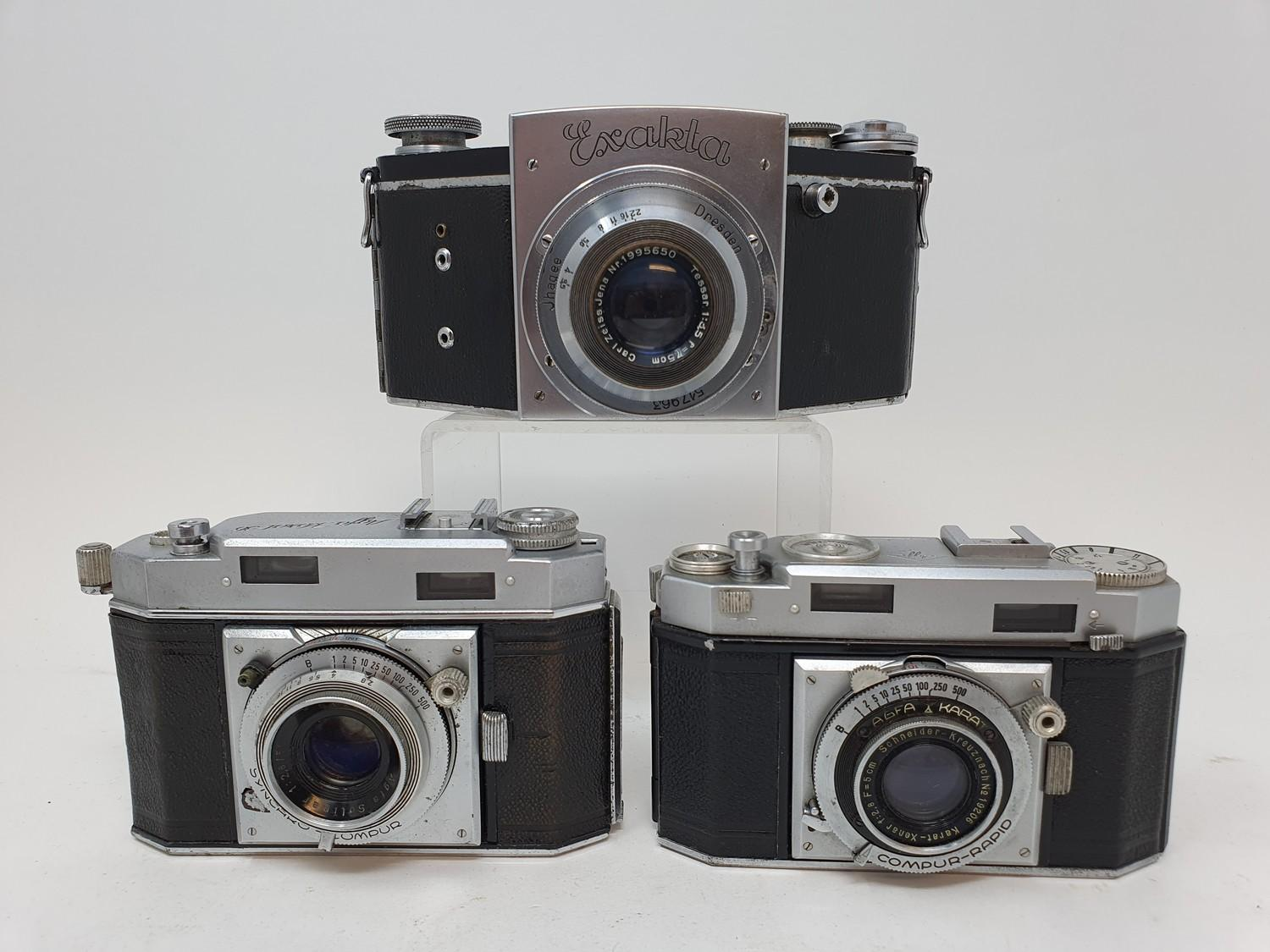 An Exakta camera, Agfa Karat 36 camera and an Agfa camera (3) Provenance: Part of a vast single