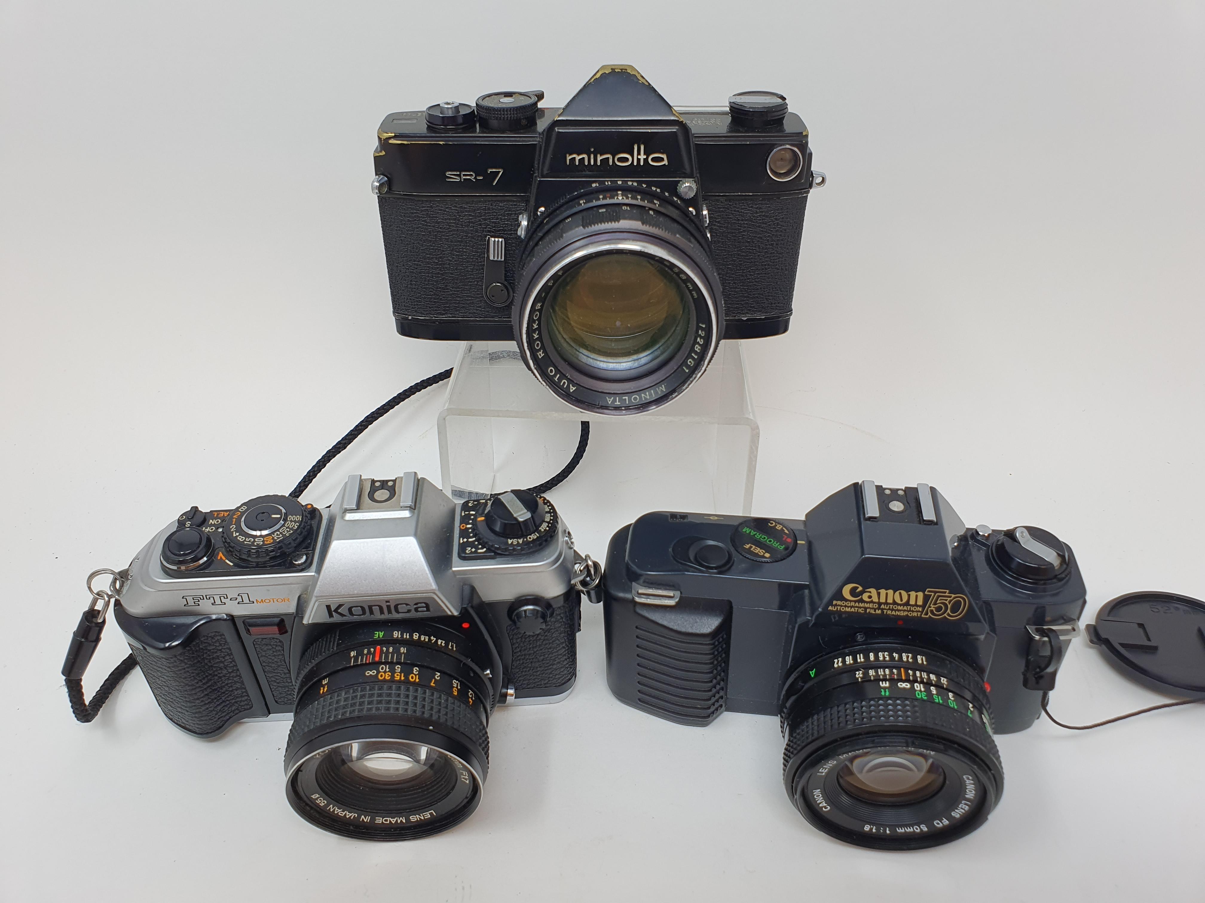 A Minolta SR-7 camera, a Canon T50 camera and a Konica FT-1 camera (3) Provenance: Part of a vast - Image 2 of 3