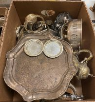 A silver plated oval tray, and various silver plate (two boxes)