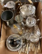 A silver sugar bowl, Sheffield 1944, 6.4 ozt, a silver plated kettle, stand and burner, other plated