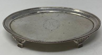 A late 18th century silver teapot stand, of navette form, initialed, Hester Bateman, London 1787,