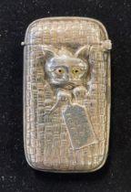 A silver cat 'Ready for a Scratch' vesta case Modern