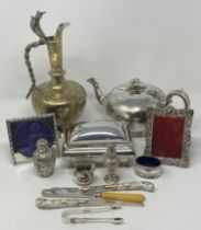A late Victorian silver scent bottle and cover, decorated flowers and foliage, Birmingham 1894, 8.