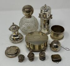 An 18th century style silver sugar caster Birmingham 1901, 3.1 ozt, 11 cm high, and other assorted