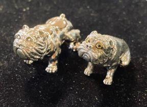 Two miniature silver bulldogs Modern