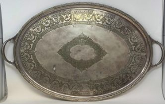 A silver plated oval two handle tray, 74 cm wide