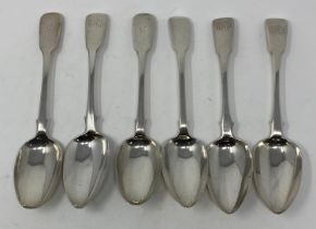 Six silver fiddle pattern table spoons, initialed, various dates and makers, 14.2 ozt