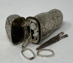 An 18th century silver coloured metal etui case, with accessories, apparently unmarked, scissors