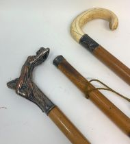 An Edwardian walking stick, with an erotic lady silver plated handle, on a malacca shaft and two