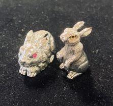 Two miniature silver rabbits Modern