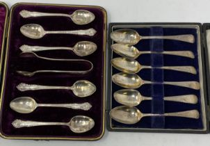 A set of six silver coffee spoons, with sugar tongs, Sheffield 1926, boxed, and a set of six
