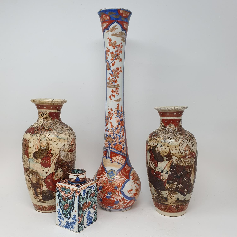 A Japanese Imari bottle vase, and other ceramics (box)