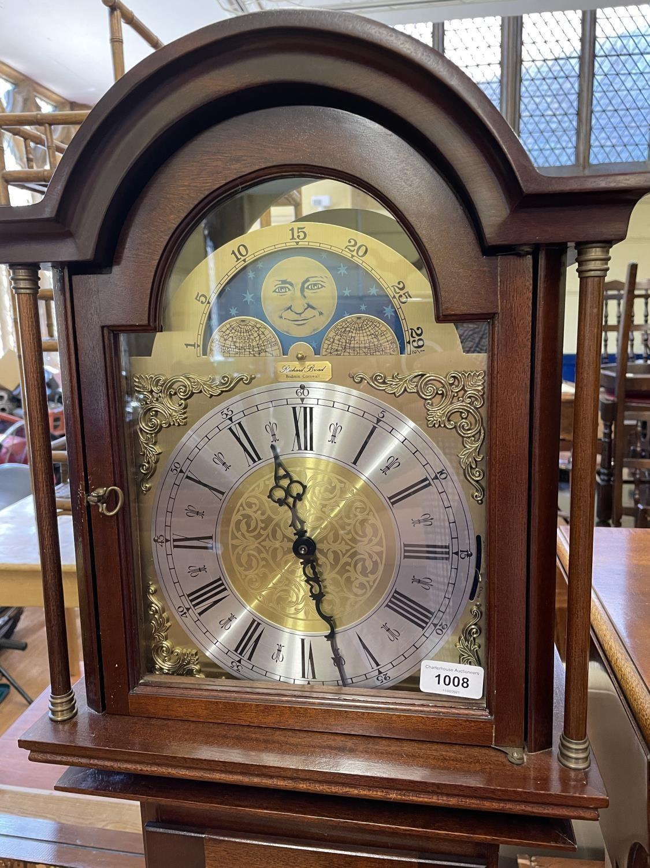 A modern longcase clock, in mahogany case