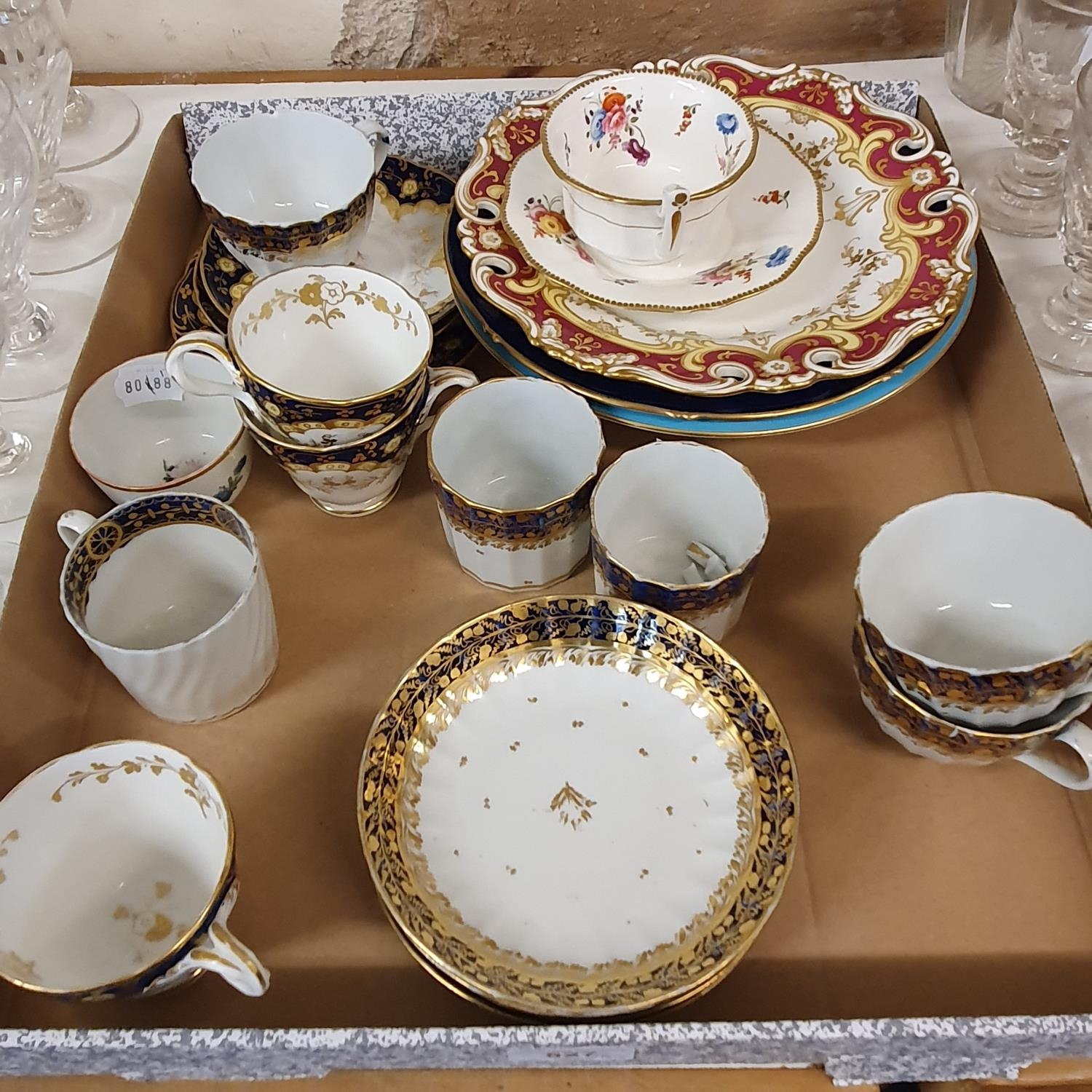 A late 18th century Worcester porcelain tea set, comprising a tea pot, two cups and saucers, five - Image 2 of 2