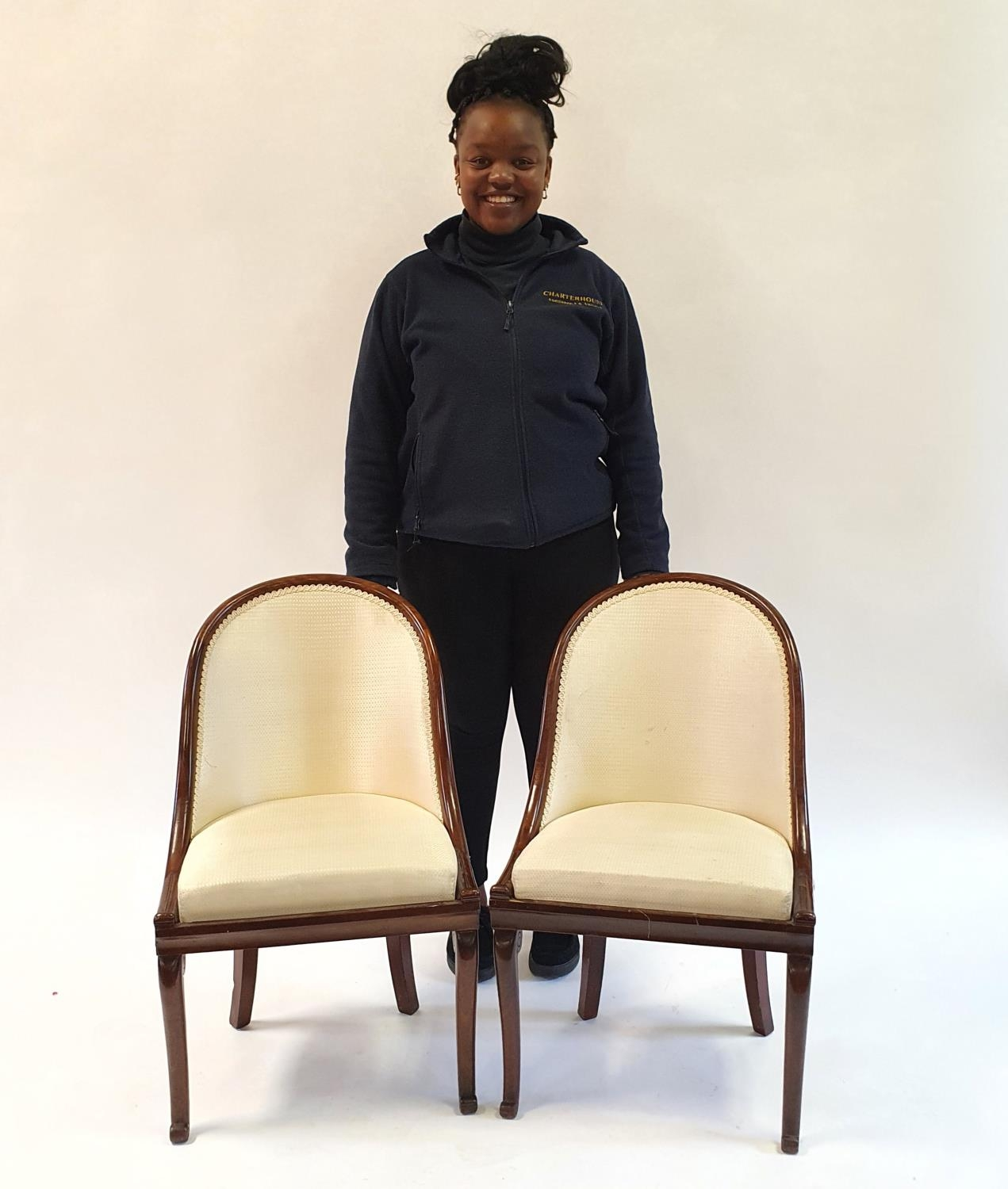 A pair of 19th century mahogany hoop back chairs, of small proportions, on cabriole legs (2) Signs - Image 7 of 7