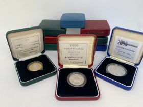 A 1996 Celebration of Football silver proof £2, and other proof coins, all boxed (10)