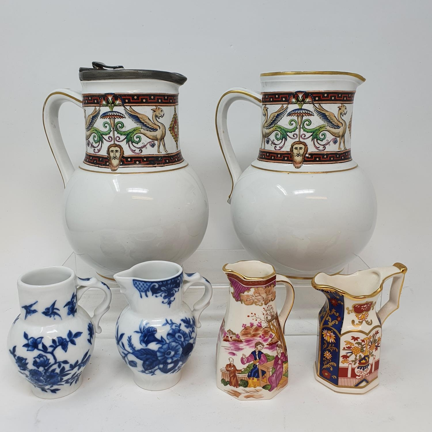 A pair of jugs, decorated phoenix, other ceramics and glass (4 boxes)
