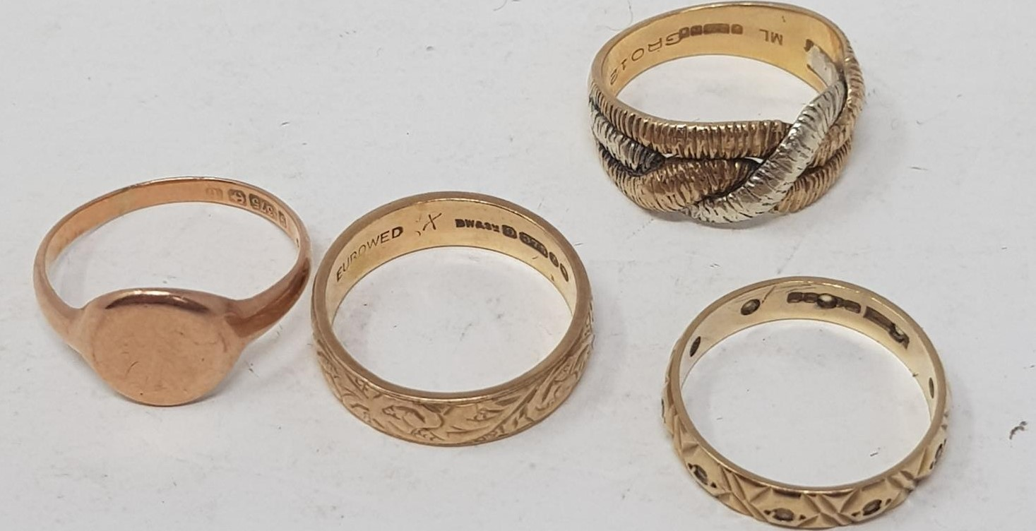 Four 9ct gold rings, 12.0 g