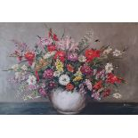 H G Davis, still life of flowers, oil on canvas, signed, 56 x 80 cm Hole to the canvas
