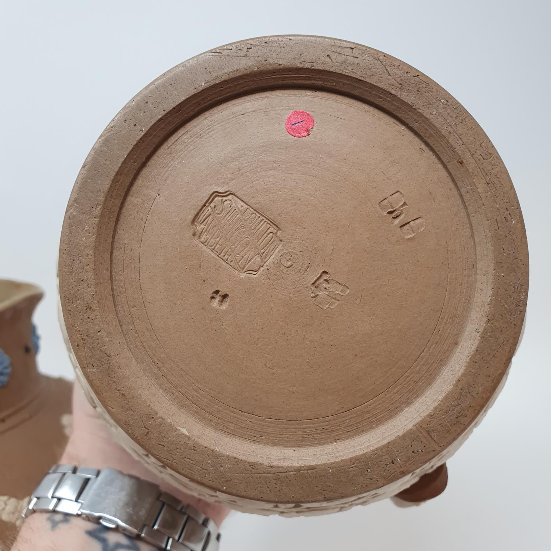 A Doulton Lambeth tobacco jar, 15 cm high, and two Doutlon Lambeth jugs (3) - Image 7 of 7