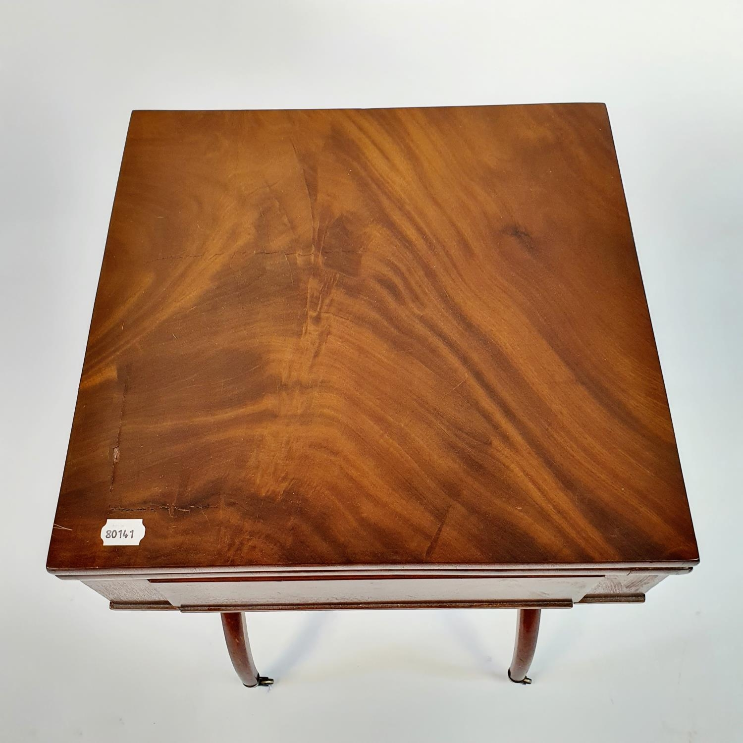 A 19th century mahogany campaign style desk, with folding top to reveal a tooled red leather writing - Image 5 of 6