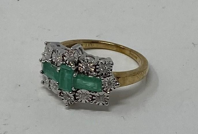 A 9ct gold, emerald and diamond ring