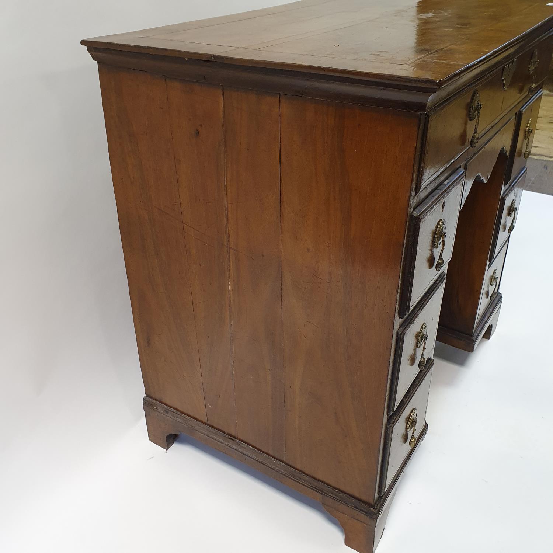 An 18th century style walnut kneehole desk, with herringbone crossbanding, having, having one long - Image 4 of 11
