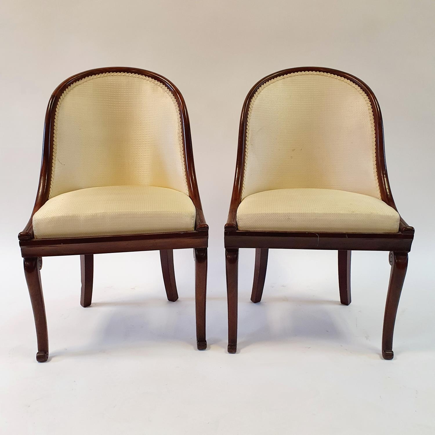 A pair of 19th century mahogany hoop back chairs, of small proportions, on cabriole legs (2) Signs - Image 2 of 7