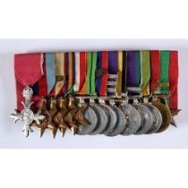 The group of fourteen medals, awarded to Lt Col Frederick Owen Lewis MBE CPM, comprising an MBE (