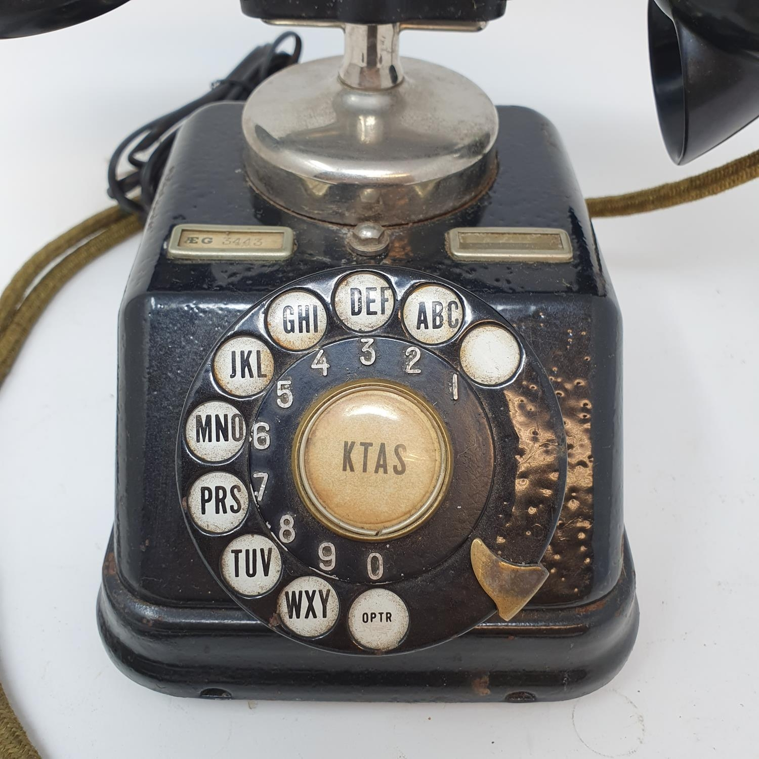 A Danish black dial phone 1930s converted - Image 2 of 2