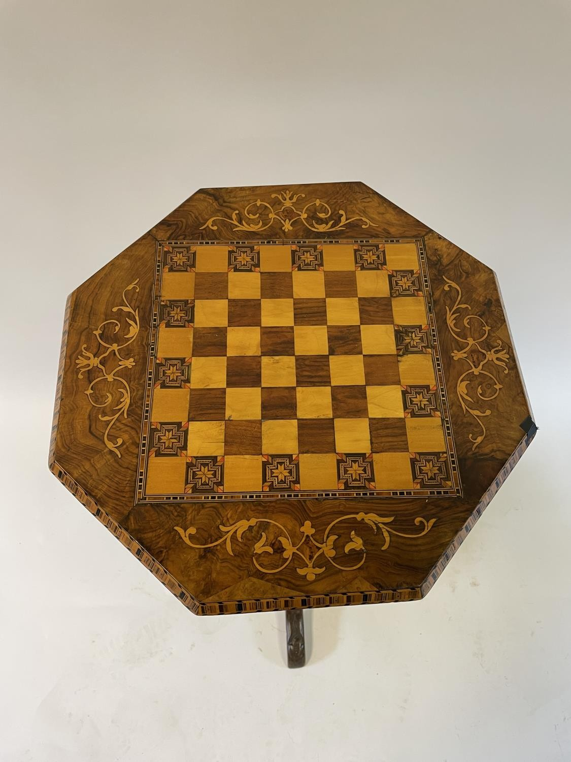 A 19th century walnut work table, the top inlaid for chess, 44 cm wide - Image 2 of 3