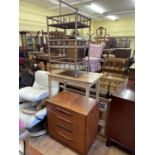 A G Plan chest, having three drawers, 72 cm wide, a pine side table, a bamboo three tier stand, a