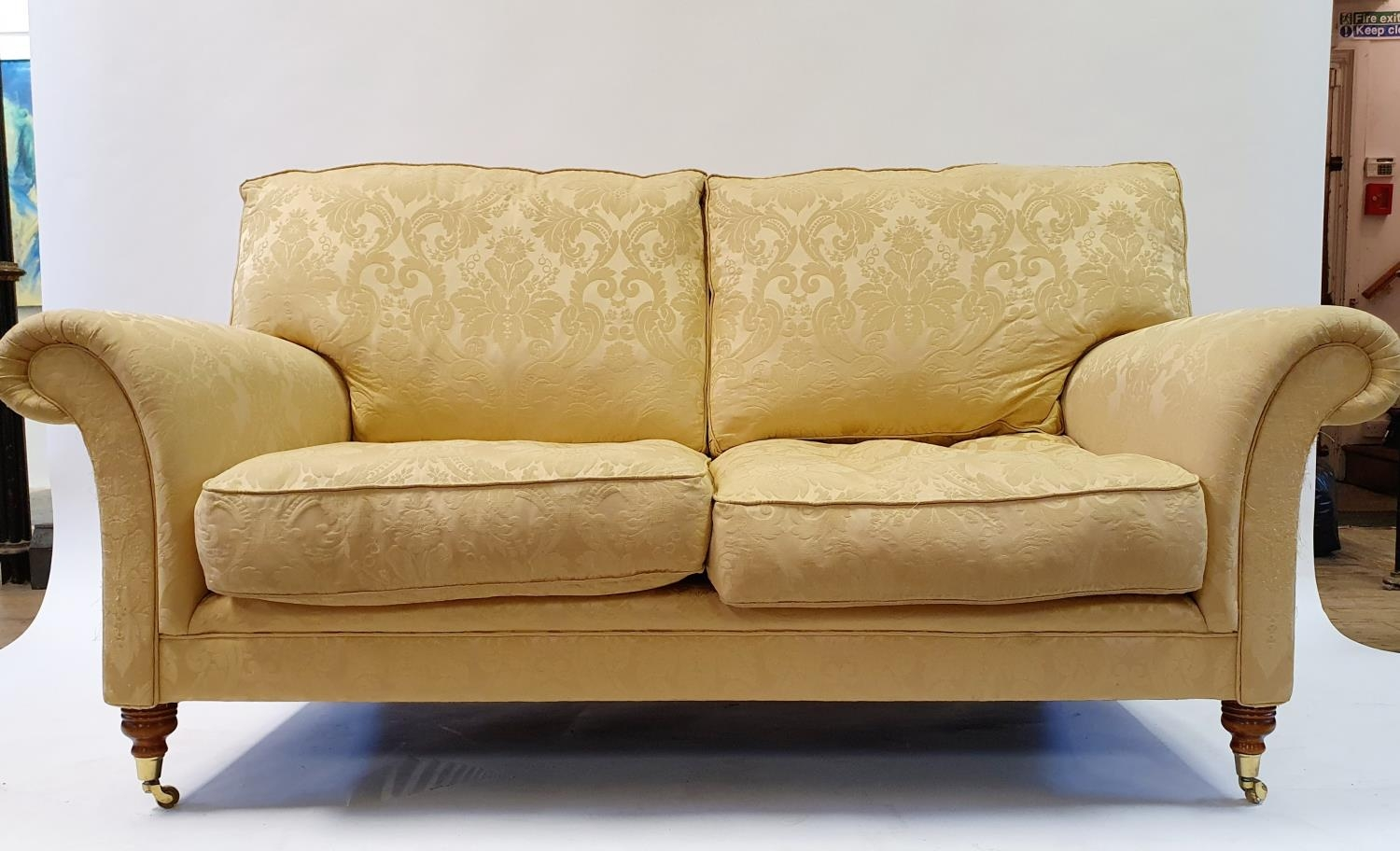 A Wesley Barrell Victorian style two seater settee, on turned front legs - Image 2 of 3