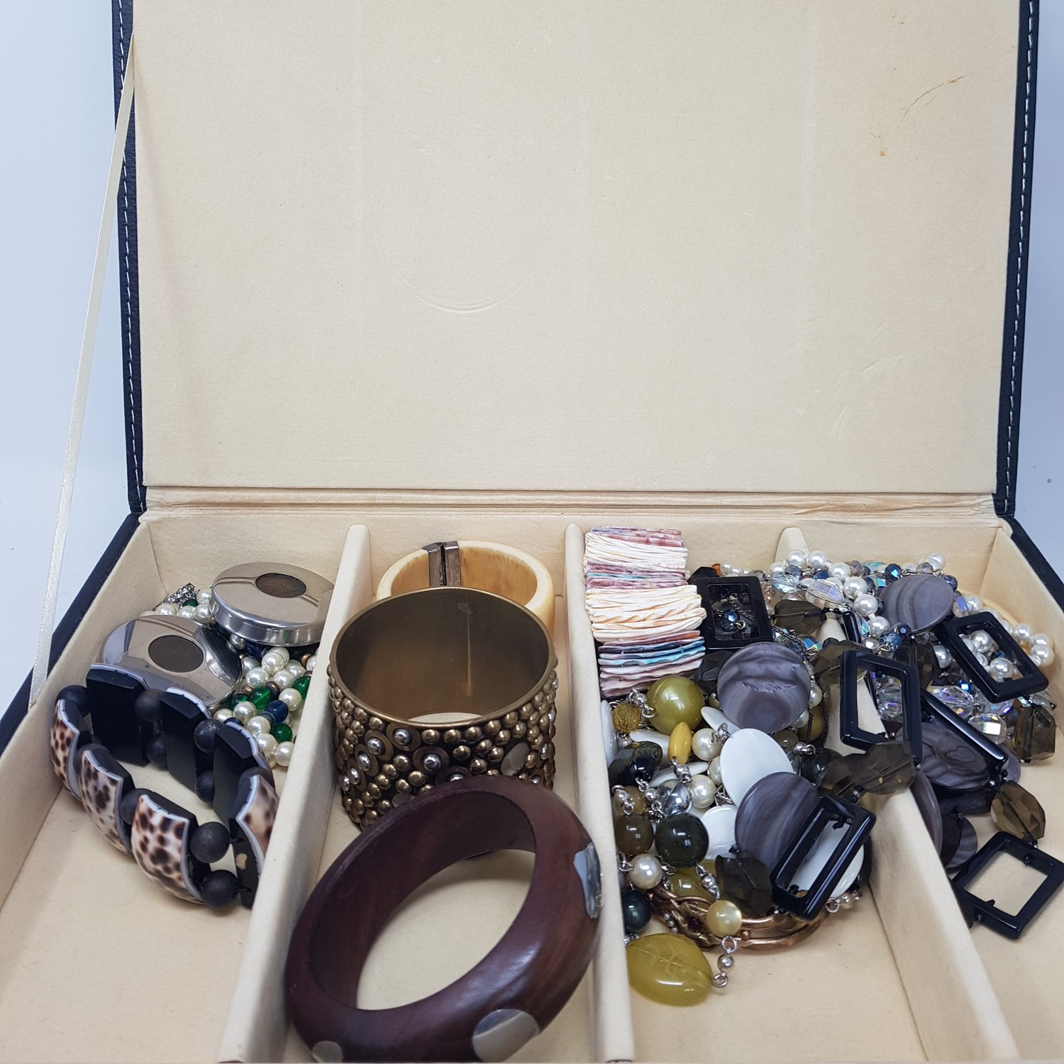 Various costume jewellery, and a modern jewellery box