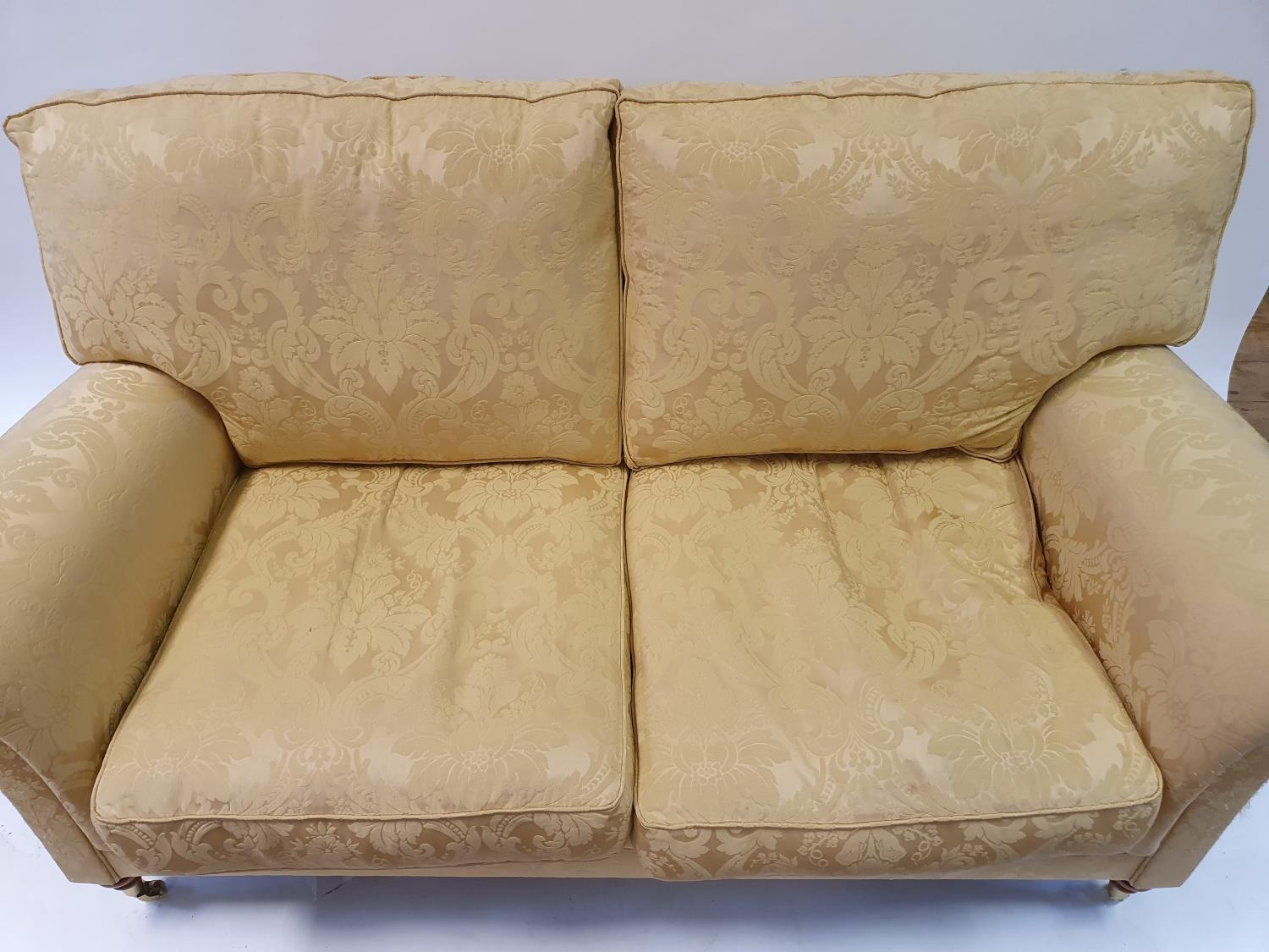 A Wesley Barrell Victorian style two seater settee, on turned front legs - Image 3 of 3