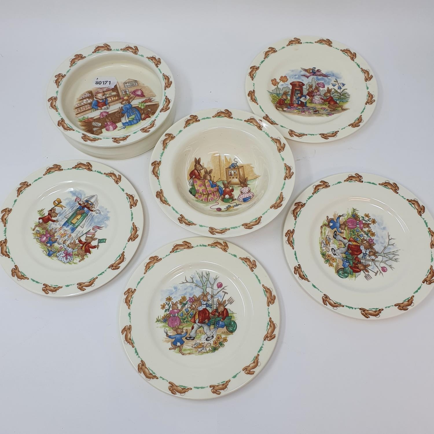 Two Royal Doulton Bunnykins baby's plates by Barbara Vernon, and other Bunnykins china (8) - Image 4 of 4