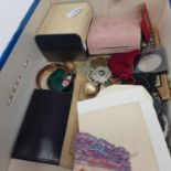 Assorted costume jewellery, military badges, photographs (understood to be of the 1948 Olympics),