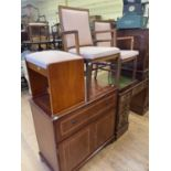 A mahogany cabinet, a pair of chairs and a stool (4)