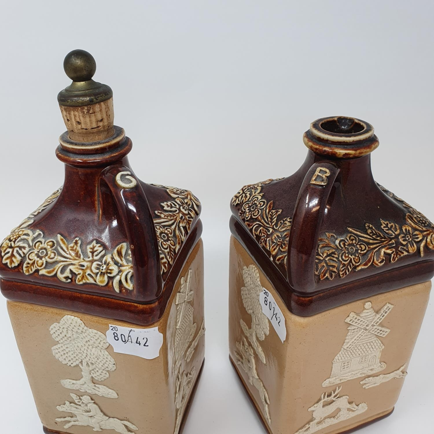 A pair of Doulton Lambeth flagons, impresses Supplied to G.W. Scott & Sons Only and two Doulton - Image 2 of 8